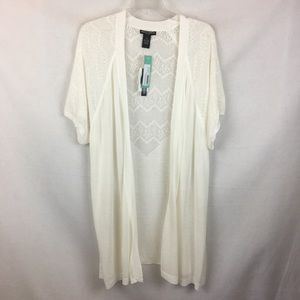 Chelsea & Theodore Ivory Open Long Duster Cardigan